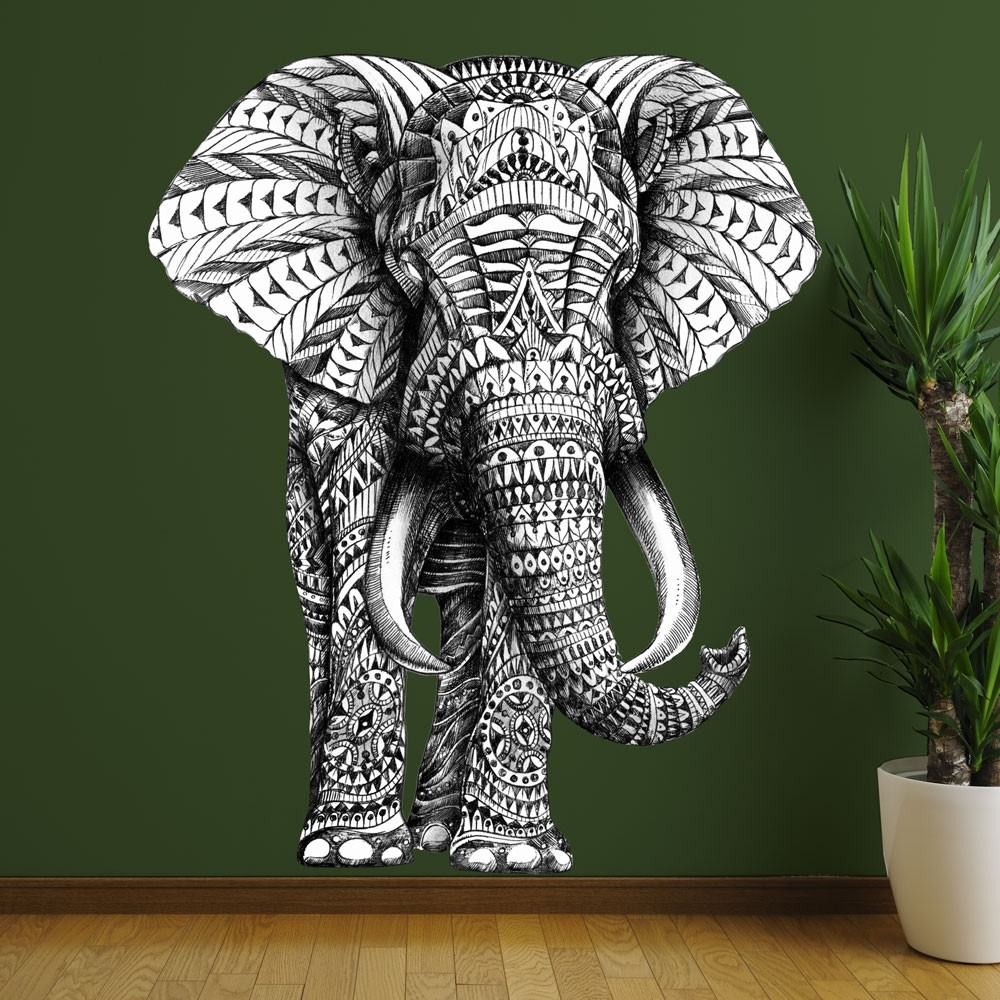 Elephant Wall Sticker Decal – Ornate Jungle Animal Artbioworkz Throughout Famous Elephant Fabric Wall Art (Gallery 6 of 15)