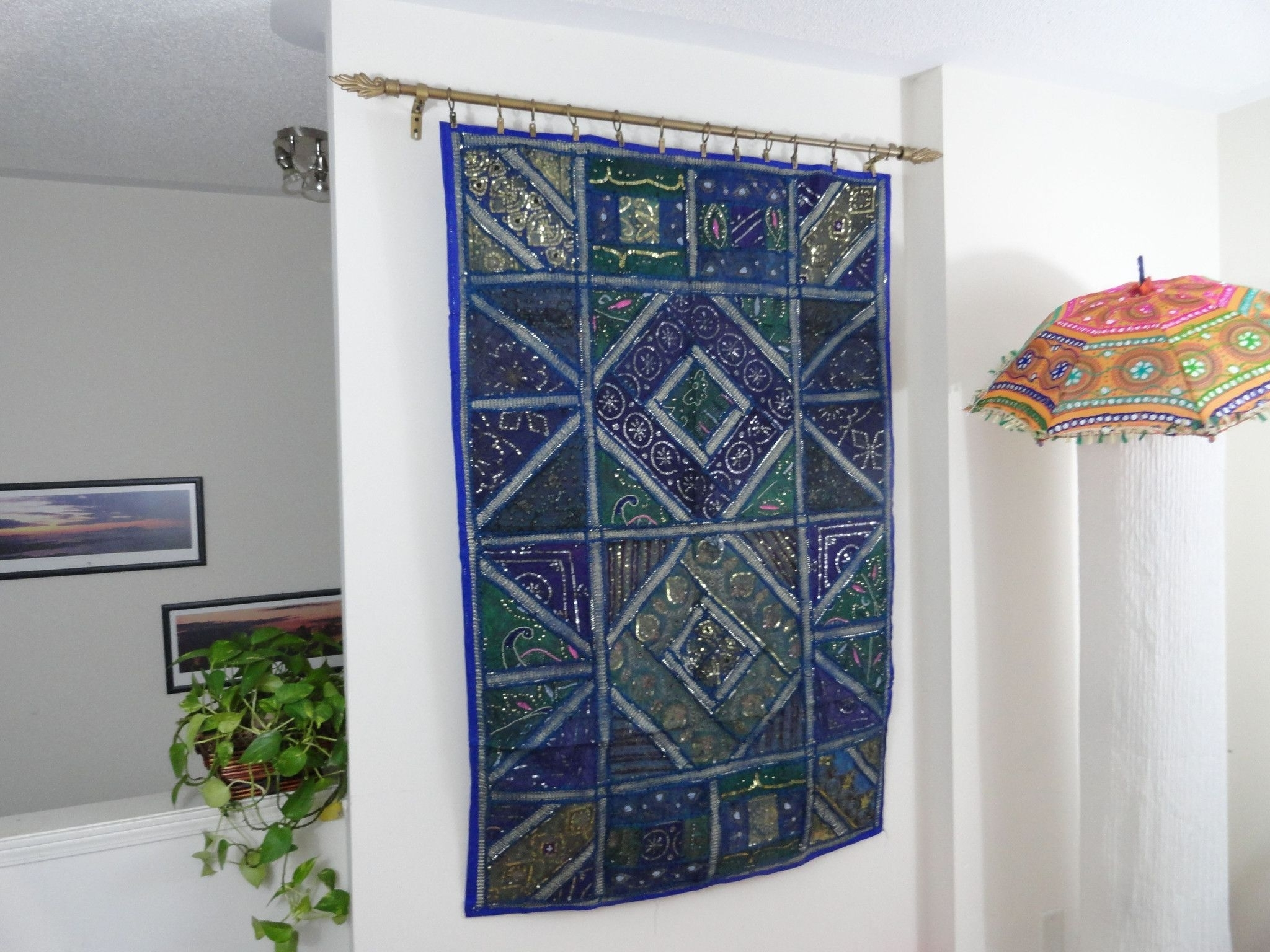 "Ethnic Wall Tapestry. Home Decor Idea ""blue Ganges""  Fabric Wall Regarding Most Recent Indian Fabric Art Wall Hangings (Gallery 11 of 15)"