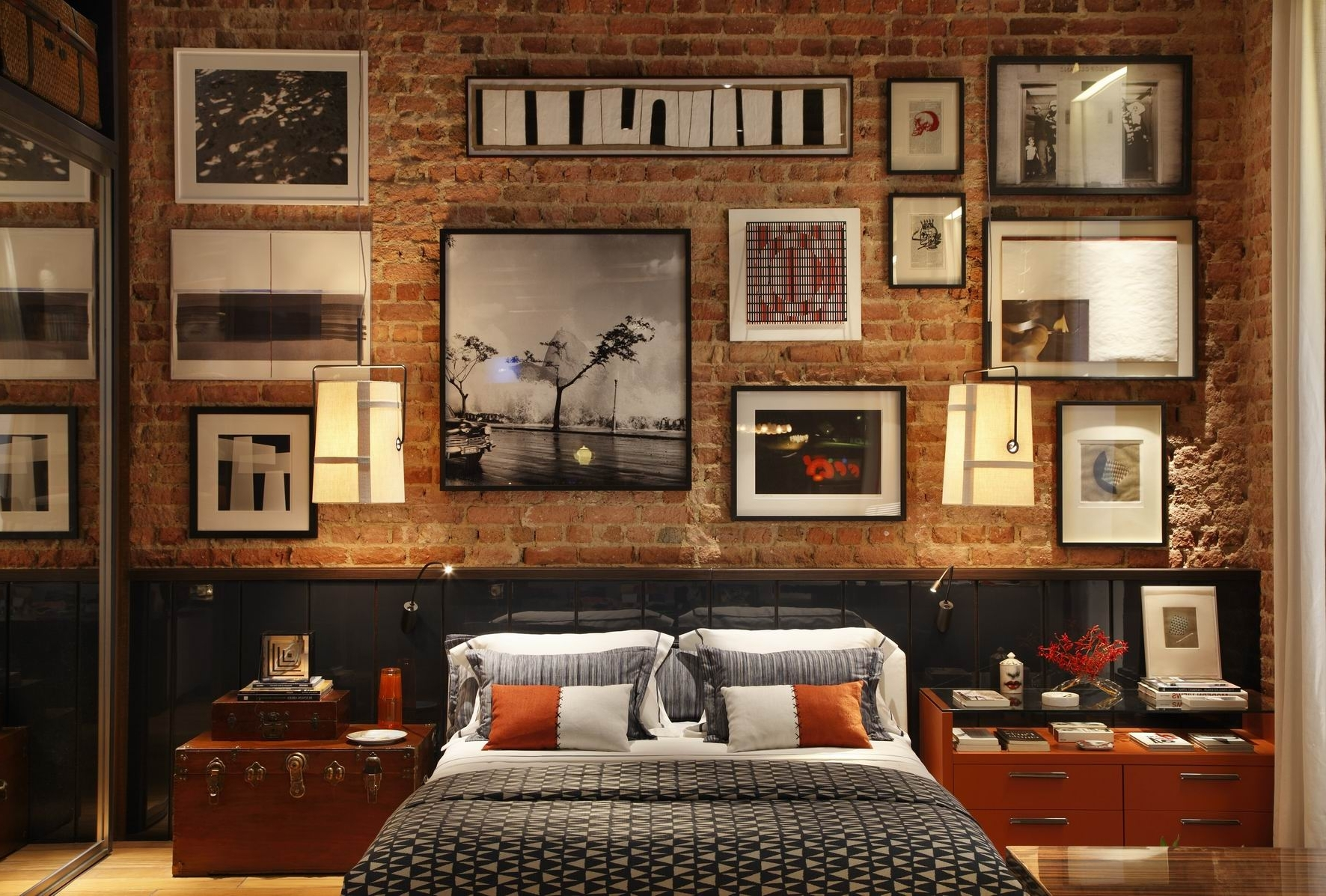 Exposed Brick Wall Accents For Favorite Inspirational Natural Master Bedroom Design Interior With Grand (Gallery 3 of 15)