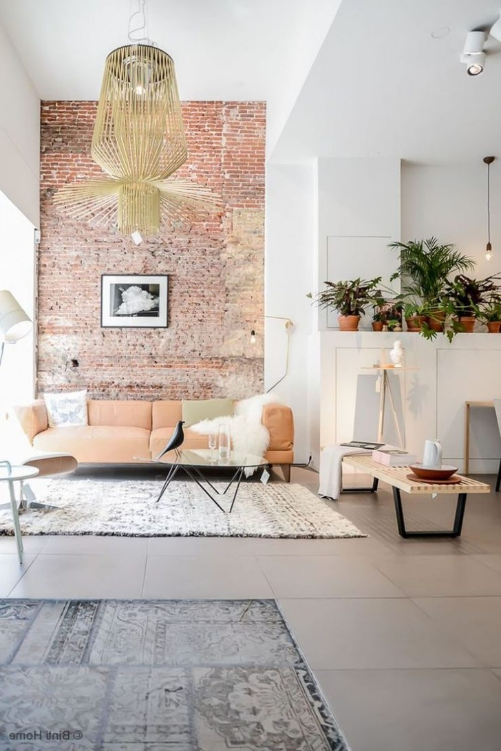 Exposed Brick Wall Accents Inside 2018 Brick Wall In Living Room Red Ideas Exposed Wallpaper Create (View 5 of 15)
