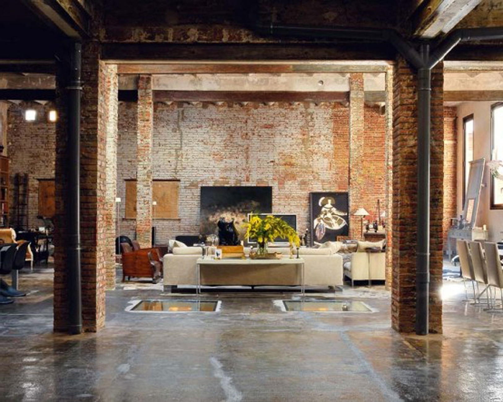 Exposed Brick Wall Accents Within Most Recent Favored Vintage Style Living Room Decorating Design With Exposed (View 8 of 15)