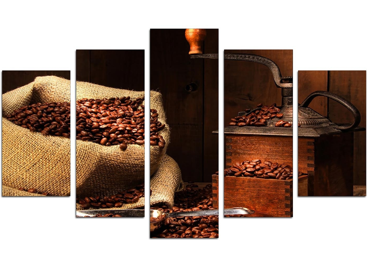 Extra Large Coffee Beans Canvas Wall Art 5 Piece In Brown Throughout Newest Kitchen Canvas Wall Art (View 3 of 15)