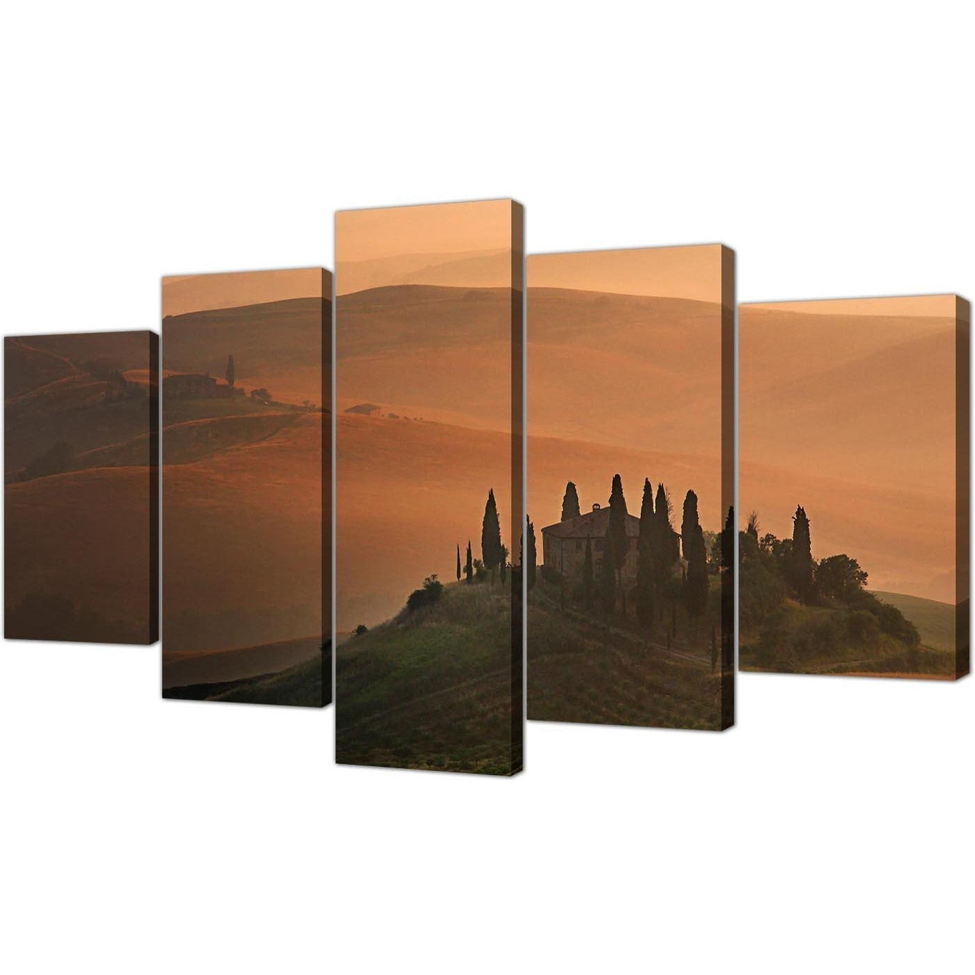 Extra Large Tuscany Vineyard – Italy Canvas Prints 5 Piece In Brown Inside Widely Used Italy Canvas Wall Art (View 6 of 15)