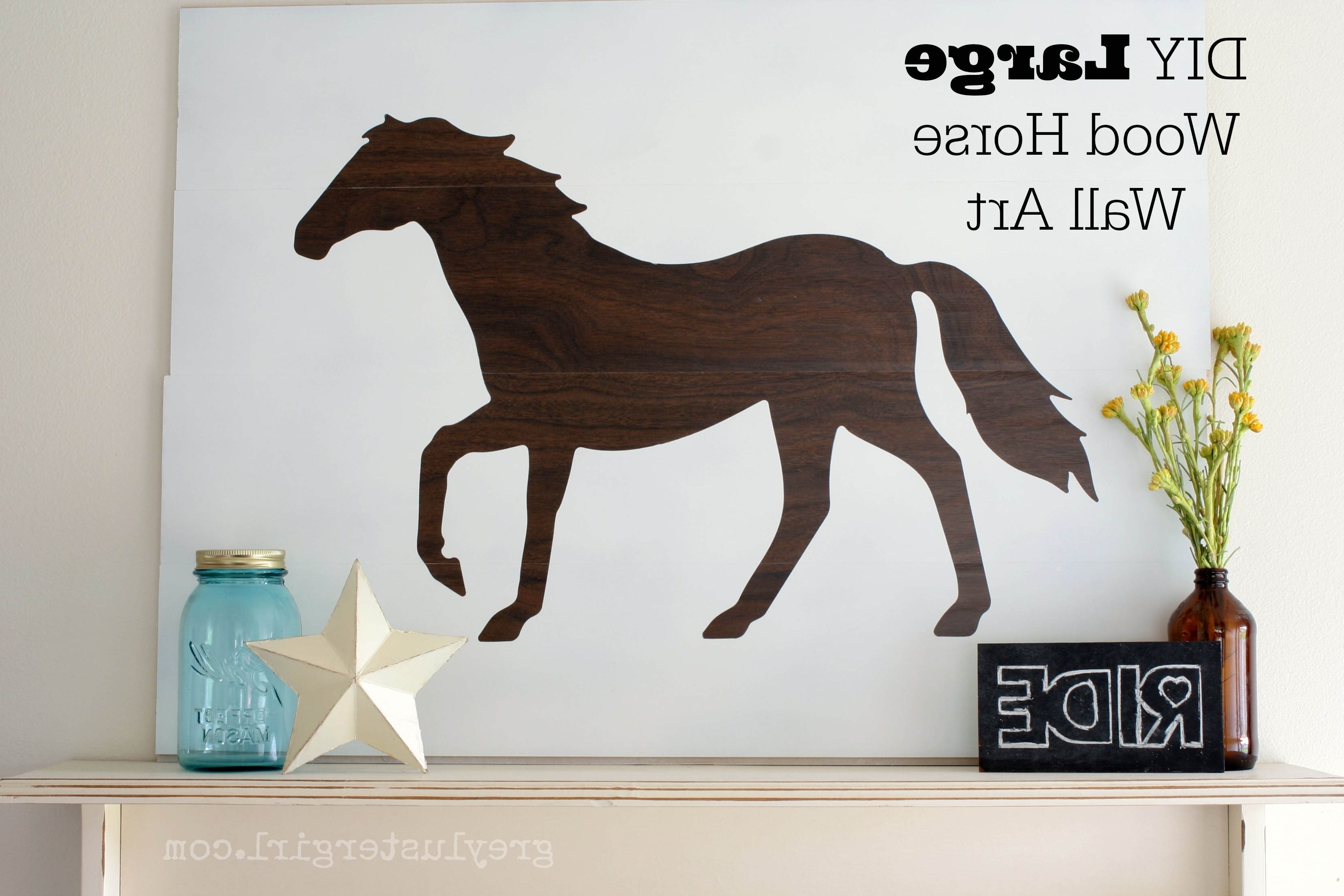 Fabric Animal Silhouette Wall Art Inside Current Large Wood Horse Wall Art And Silhouette Portrait Giveaway – (View 4 of 15)