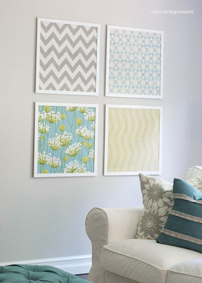 Fabric Art, Fabric Wall Art And With Fabric Covered Squares Wall Art (View 3 of 15)