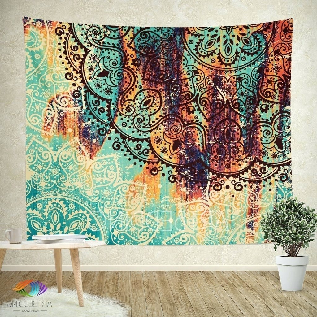 Fabric Art Wall Hangings Pertaining To Most Recently Released Wall Arts ~ Cozy Fabric Wall Hangings For Living Room Mandala (View 2 of 15)