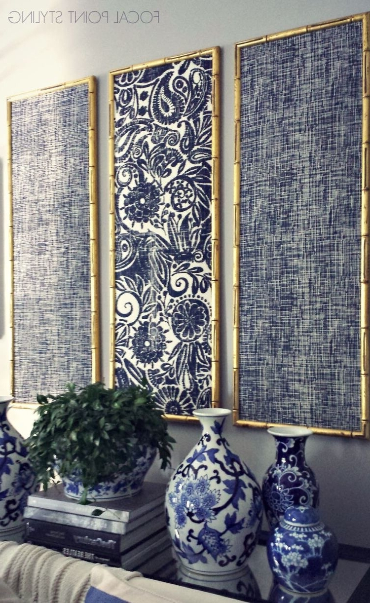 Fabric Artwork Pertaining To Most Current Damask Fabric Wall Art (View 7 of 15)