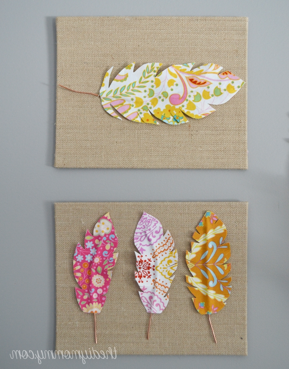 Fabric Covered Wall Art Within Widely Used Make Fabric Feather Wall Art (View 8 of 15)