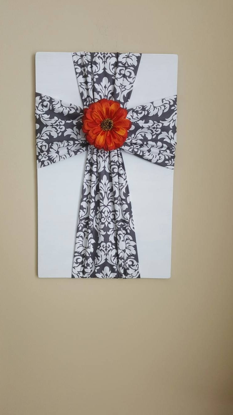 Fabric Cross Wall Art Inside Latest Large Fabric Cross On Wooden Plaque, Cross Wall Decor, Christian (View 5 of 15)