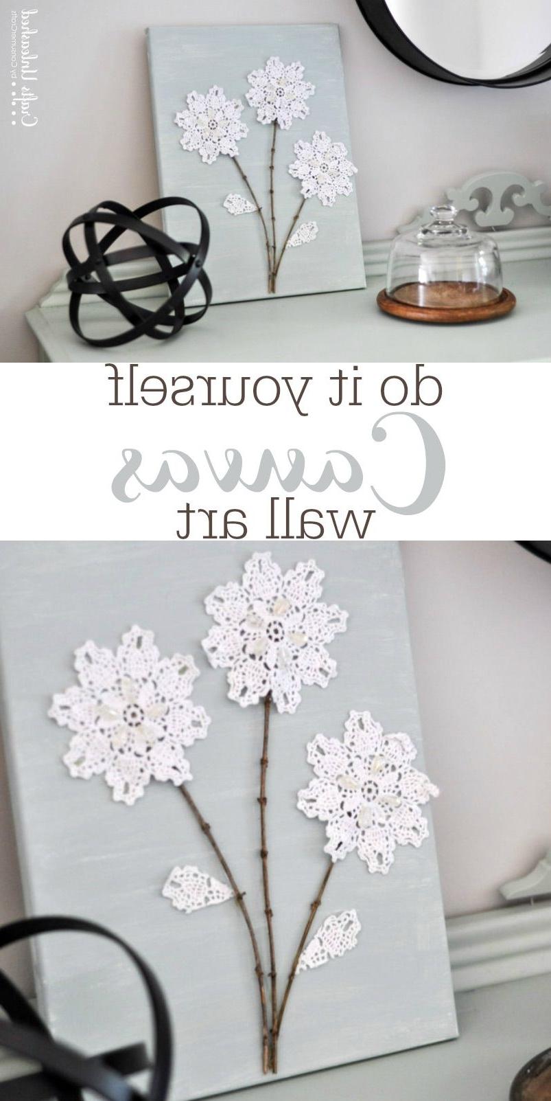 15 best ideas of fabric dress wall art for Diy flower canvas wall art