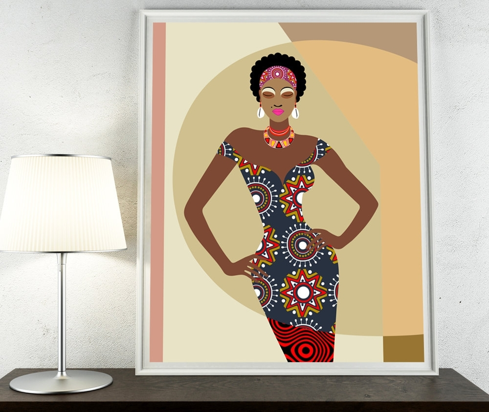 Fabric Dress Wall Art With Regard To Well Known African Artwork, African Painting, African Woman, African Wall (View 4 of 15)