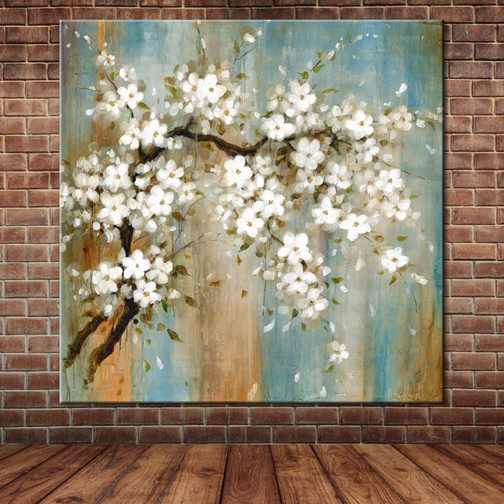 Fabric Flower Wall Art Inside Fashionable Blooming Almond Oil Painting On Canvas Modern Large Wall Art (View 4 of 15)