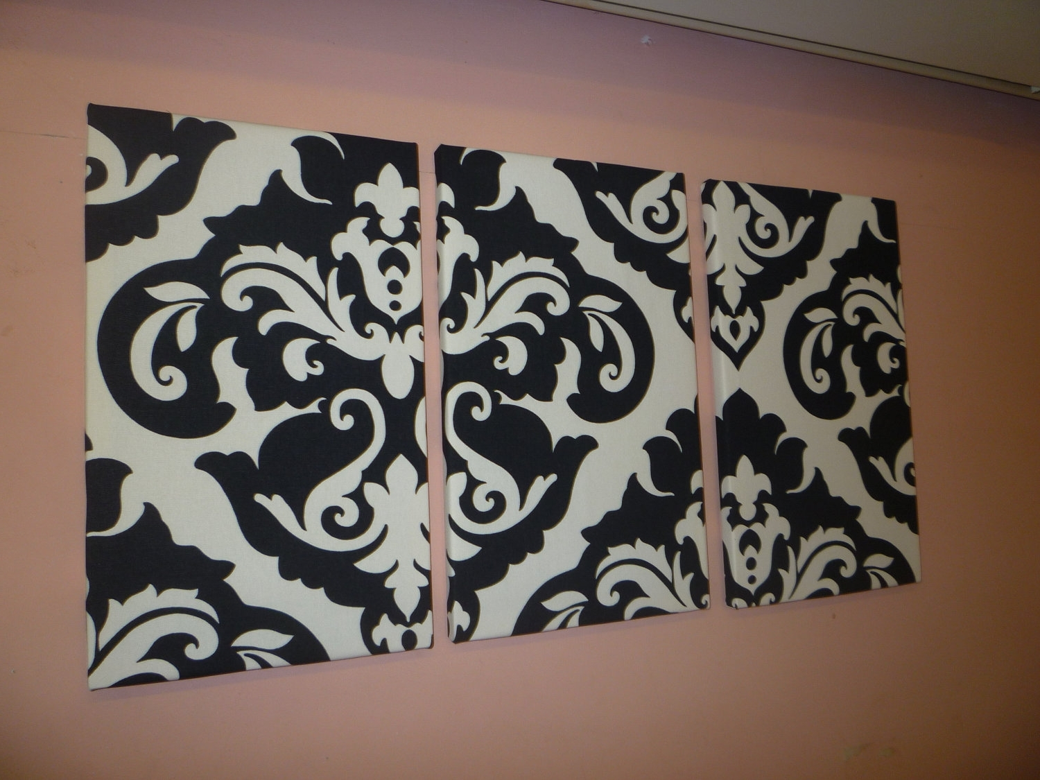 Fabric Painting Wall Art Inside Most Popular Black White Damask Fabric Wall Art Funky Retro Wickedwalls – Dma (View 3 of 15)