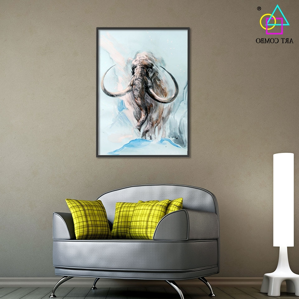 Fabric Painting Wall Art Intended For Preferred Abstract 3d Artwork Fabric Painting Animals Mammoth Drawing Home (View 10 of 15)