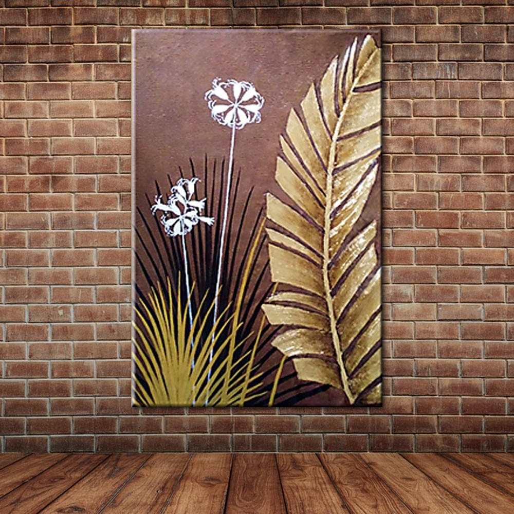 Fabric Painting Wall Art With Most Current Modern Large Wall Art Landscape Golden Foil Palm Leaves Oil (View 11 of 15)
