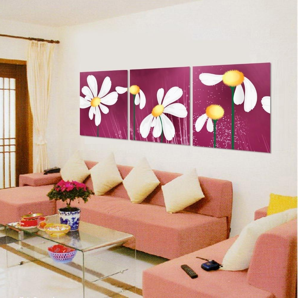 Fabric Square Wall Art Inside Most Recent Discount Art Sets Paintings Canvas Flowers Abstract Paintings (View 4 of 15)