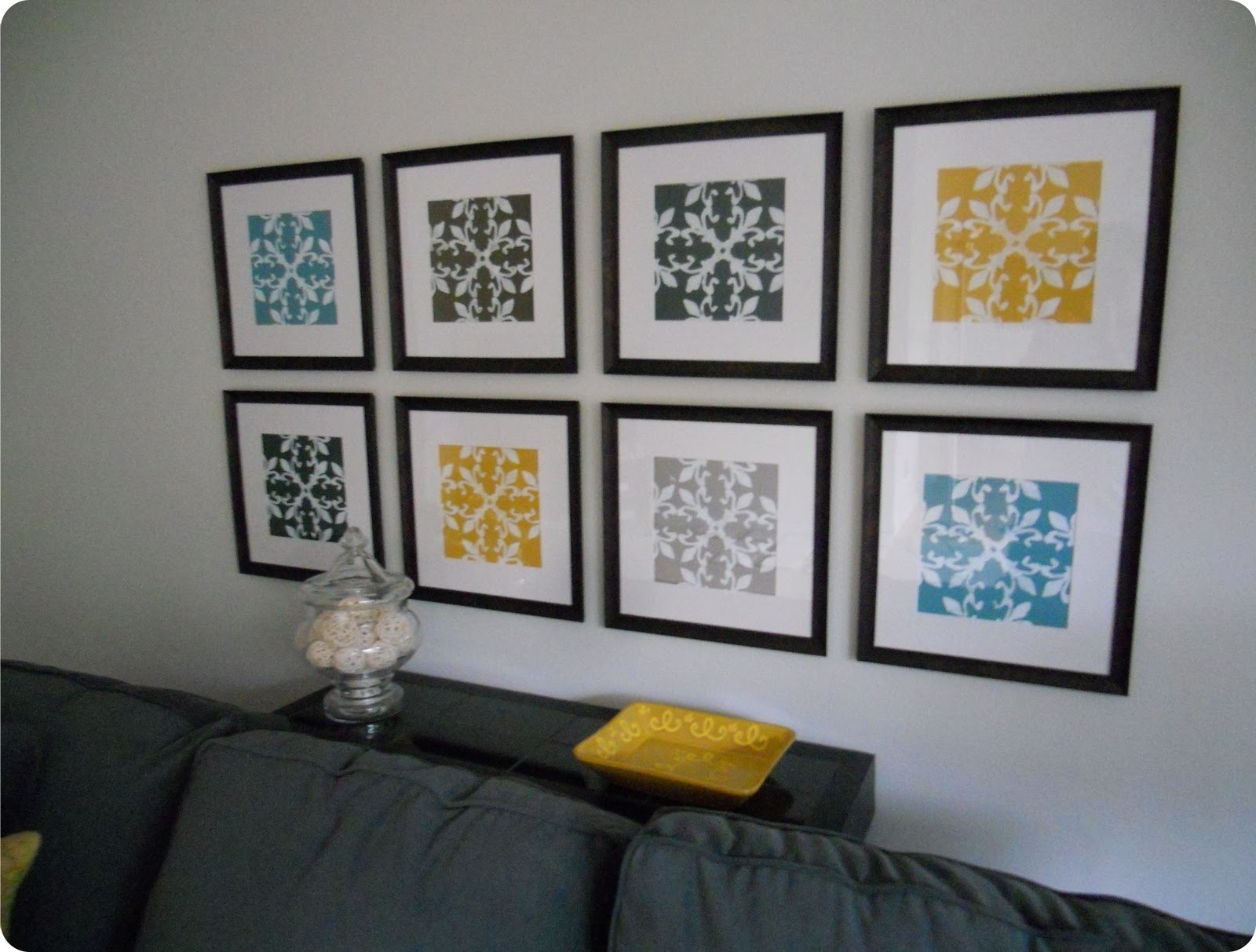 Fabric Wall Art Frames With Regard To Well Liked Gallery Wall Made From Inexpensive Frames, Scrapbook Paper (View 6 of 15)