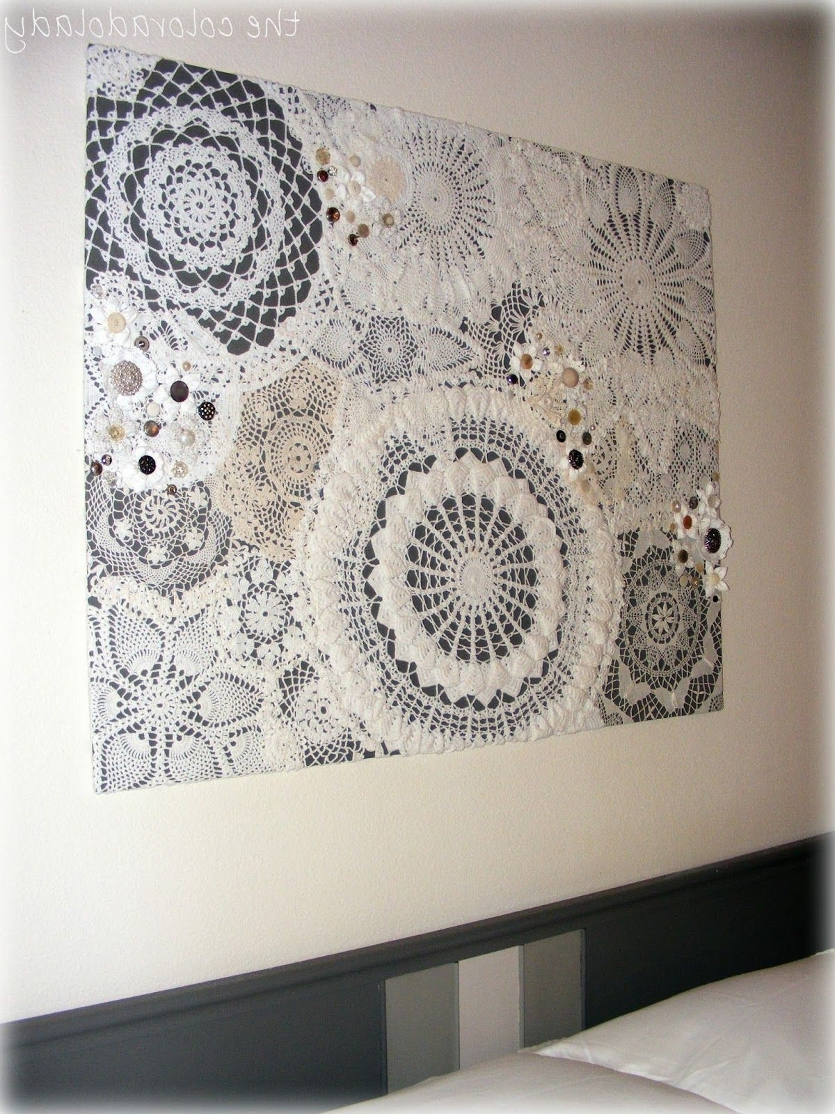 Fabric Wall Art Patterns Regarding Most Recent Diy Doily Craft Ideas (View 8 of 15)