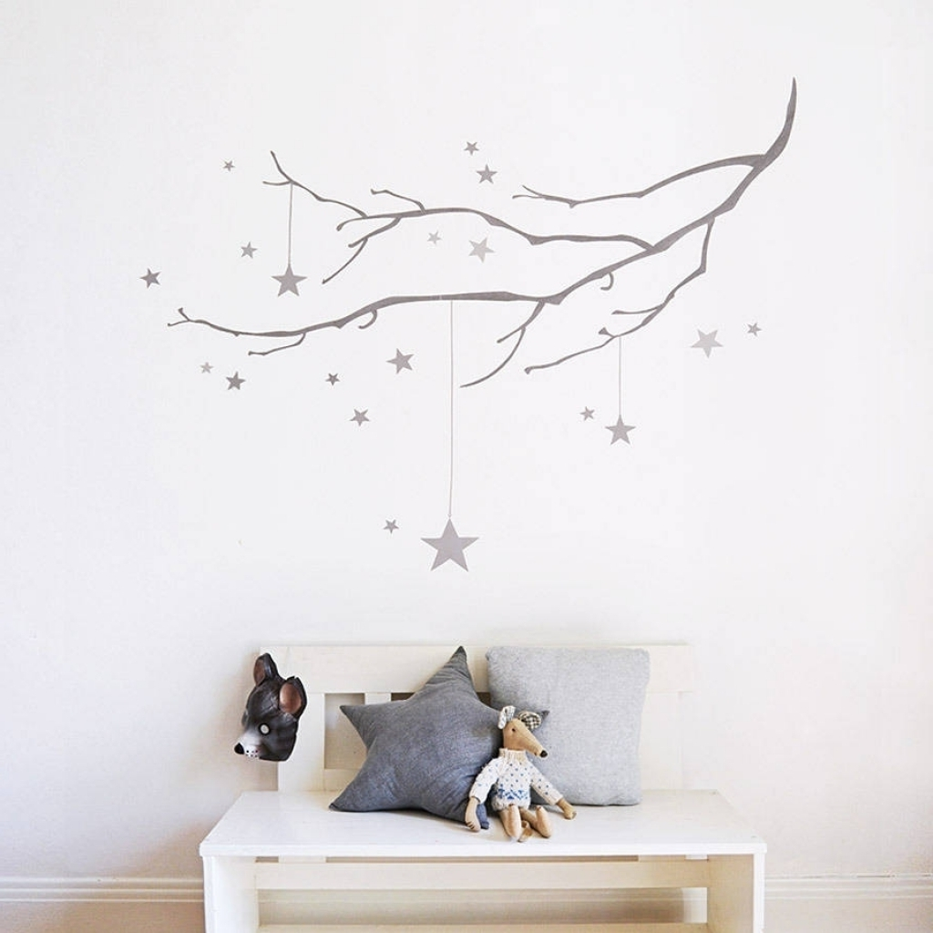 Fabric Wall Art Stickers For 2017 Winter Branch With Stars Fabric Wall Sticker Koko Kids With Stars (View 4 of 15)
