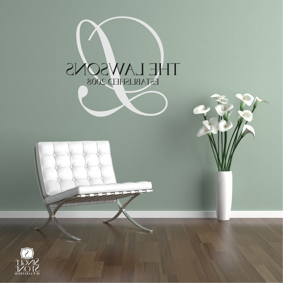 Family Monogram Wall Decal Vinyl Wallsinglestonestudios With Well Liked Vinyl Stickers Wall Accents (View 5 of 15)