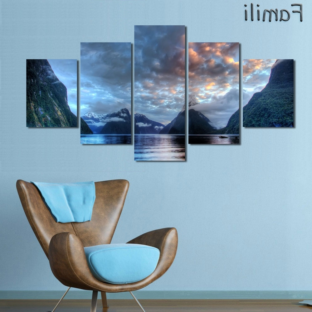 Famous 5Pcs/set Wall Art Painting New Zealand Blue Water Lake Mountain Regarding New Zealand Canvas Wall Art (View 3 of 15)