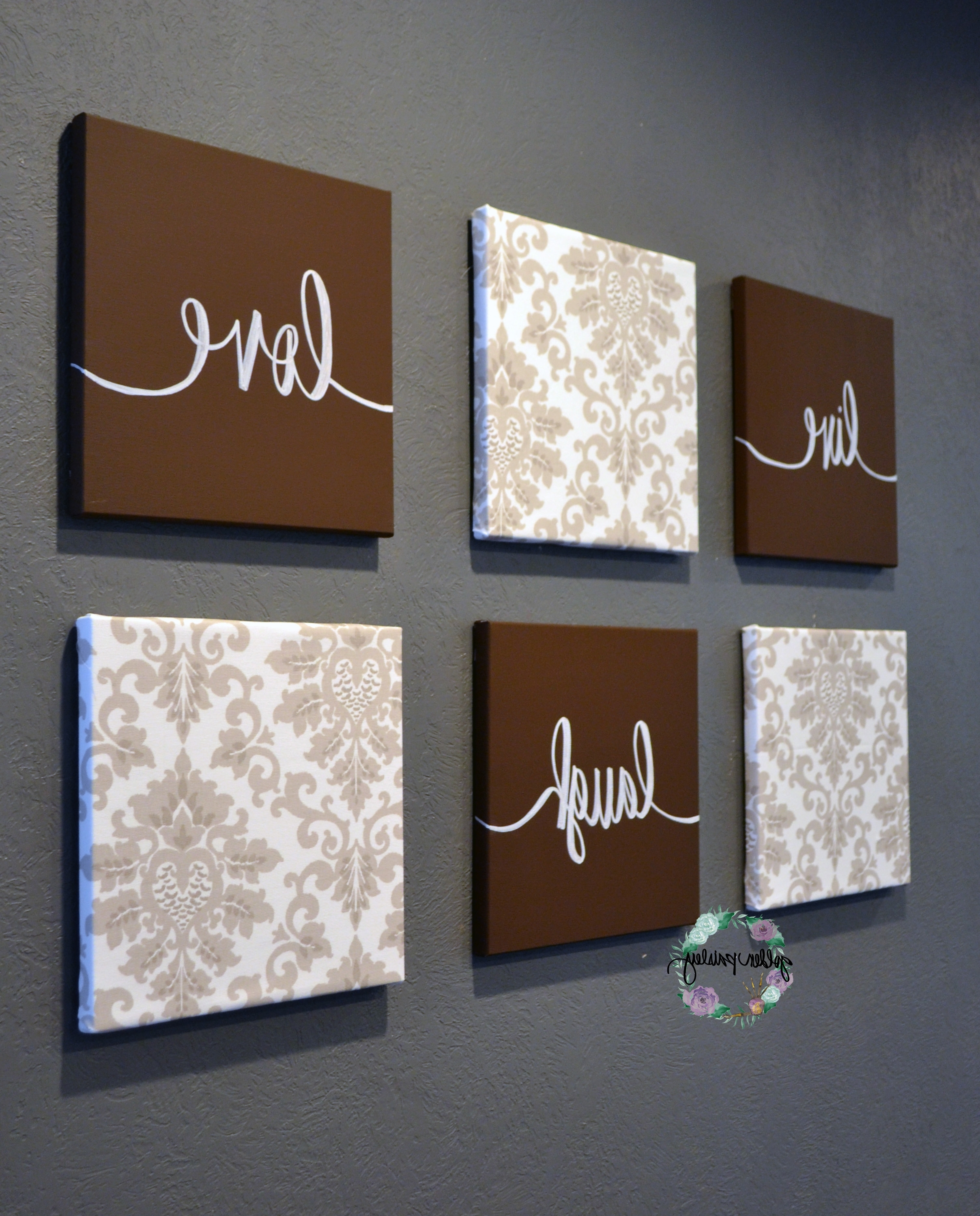 Famous Brown Beige Live Laugh Love Set Regarding Live Laugh Love Canvas Wall Art (View 4 of 15)