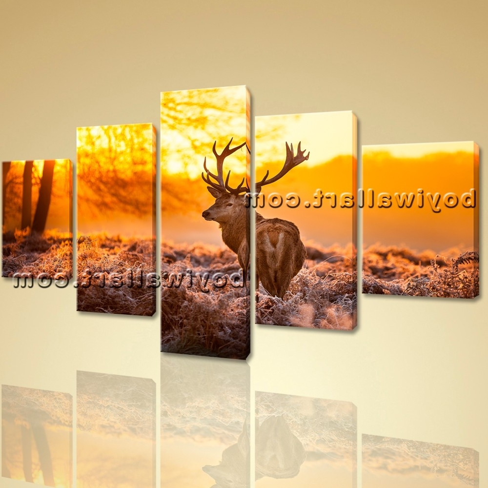 Photo Gallery of Deer Canvas Wall Art (Showing 13 of 15 Photos)