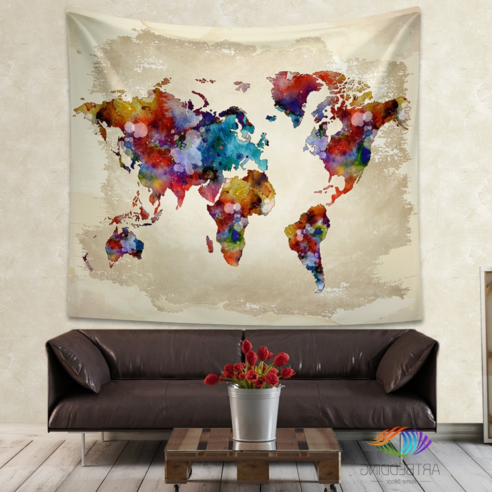 Famous Elephant Fabric Wall Art Pertaining To World Map Watercolor Wall Tapestry, Grunge World Map Wall Tapestry (View 8 of 15)