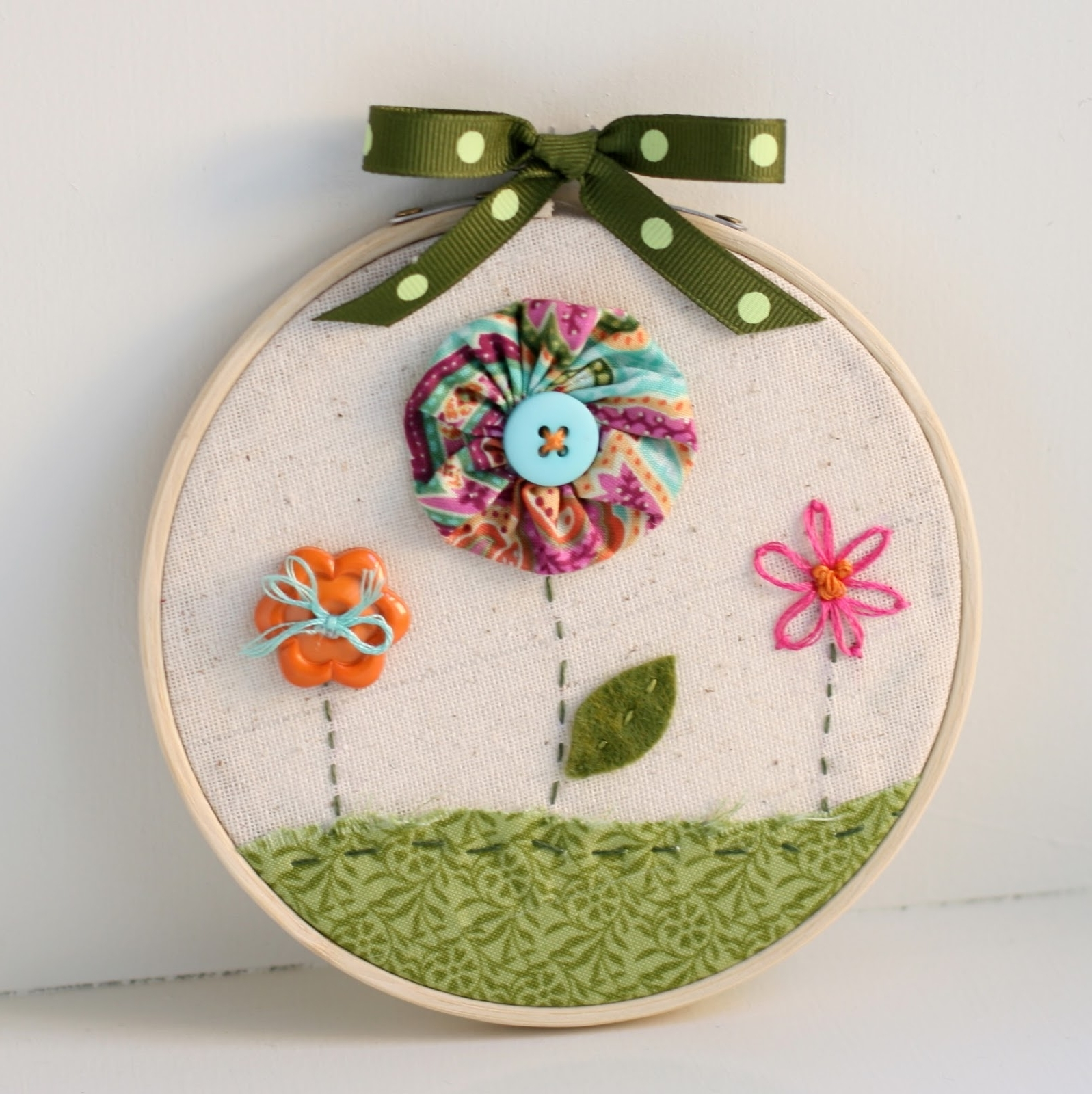 Famous Embroidery Hoop Fabric Wall Art Regarding Bunches And Bits: Hoop Art Wall Hanging (View 8 of 15)