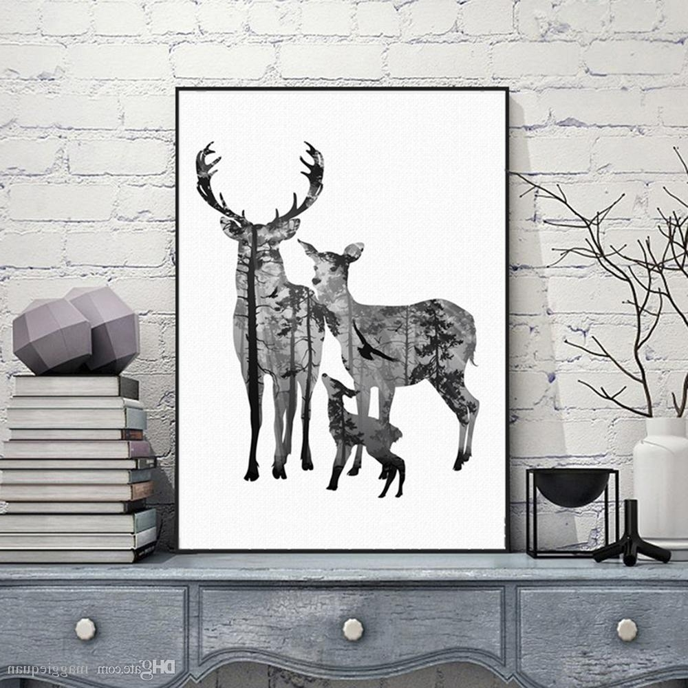 Famous Fabric Animal Silhouette Wall Art With 2018 Nordic Vintage Deer Head Silhouette Posters Black White (View 7 of 15)