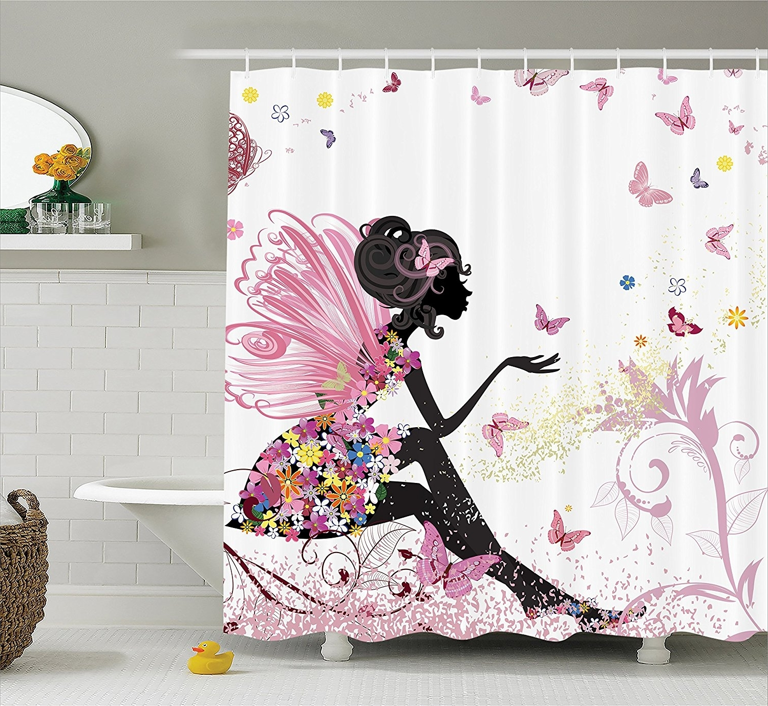 Famous Fabric Dress Wall Art In Pink Butterfly Girl With Floral Dress Flower Design Fairy Angel (View 1 of 15)