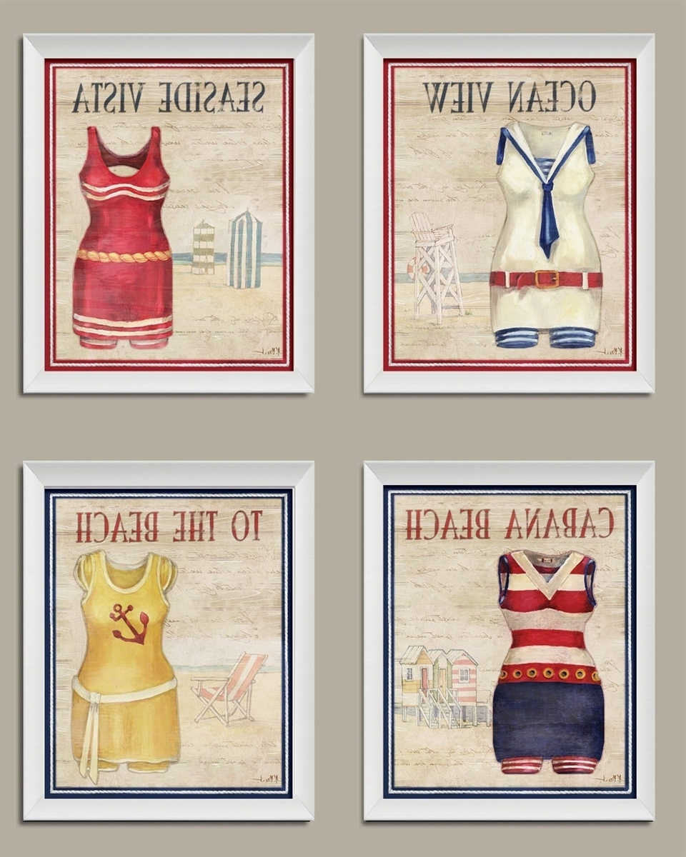 Famous Framed Classic Art Prints With Vintage Bathing Suit Set; Coastal Decor; Four 810 Inch Framed (View 14 of 15)