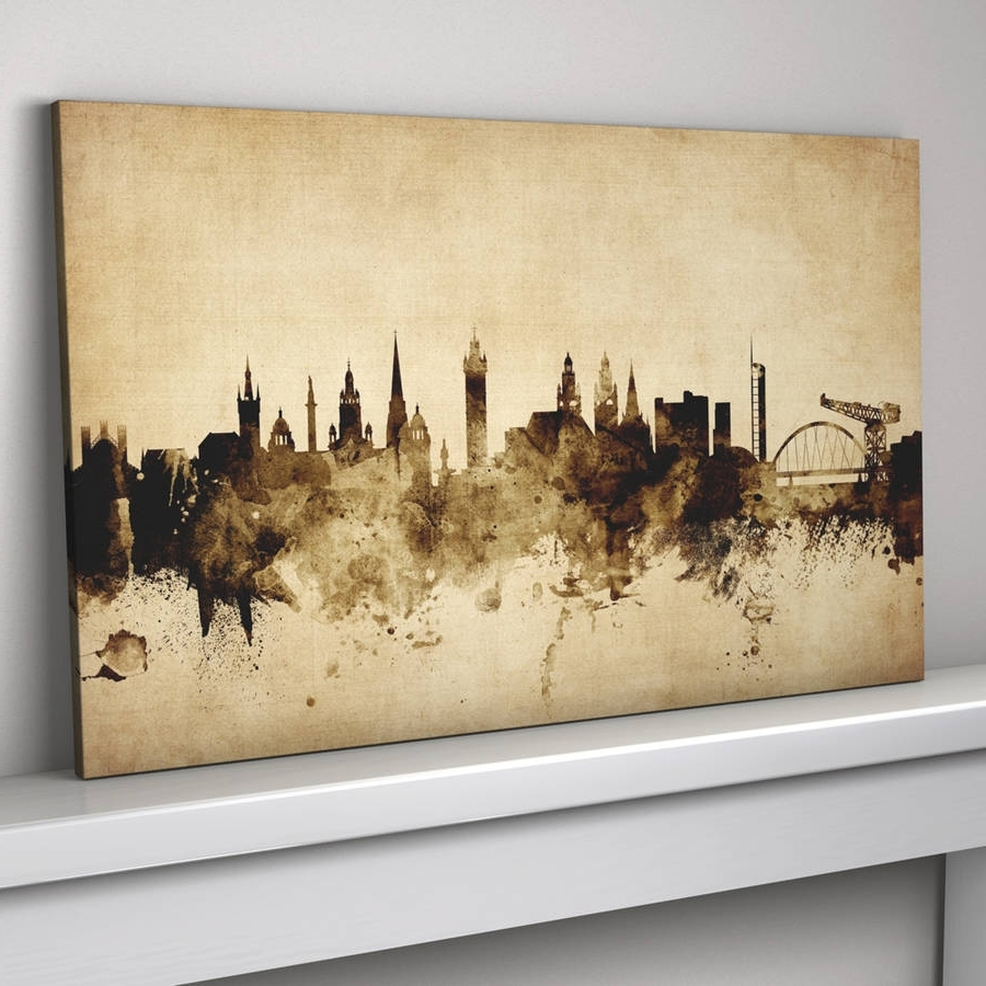 Famous Glasgow Canvas Wall Art Pertaining To Glasgow Skyline Cityscape Vintage Art Printartpause (View 1 of 15)