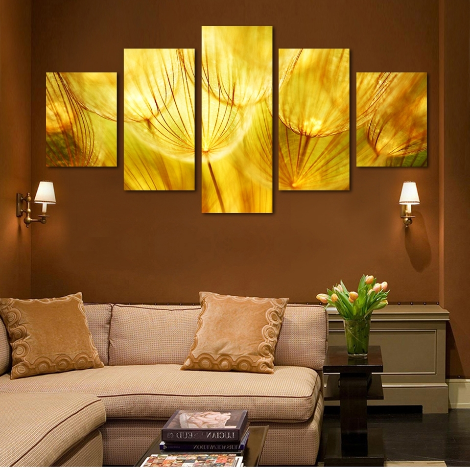 Famous Gold Canvas Wall Art In 5 Panel Wall Art Gold Flower Oil Painting On Canvas Quartz Crystal (View 3 of 15)