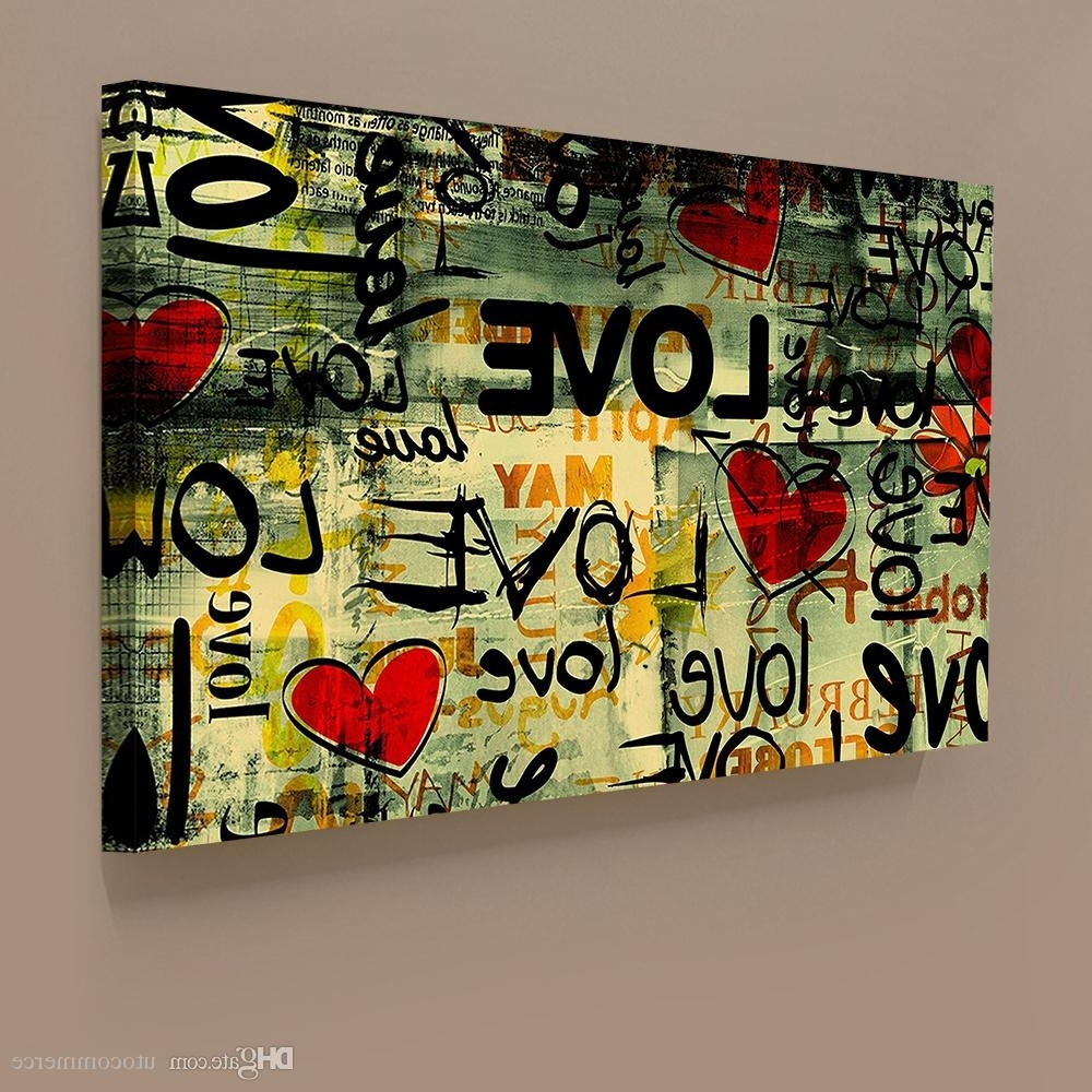 Famous Graffiti Canvas Wall Art For 2018 Modern Classical Graffiti Style Love Giclee Printing On (View 3 of 15)