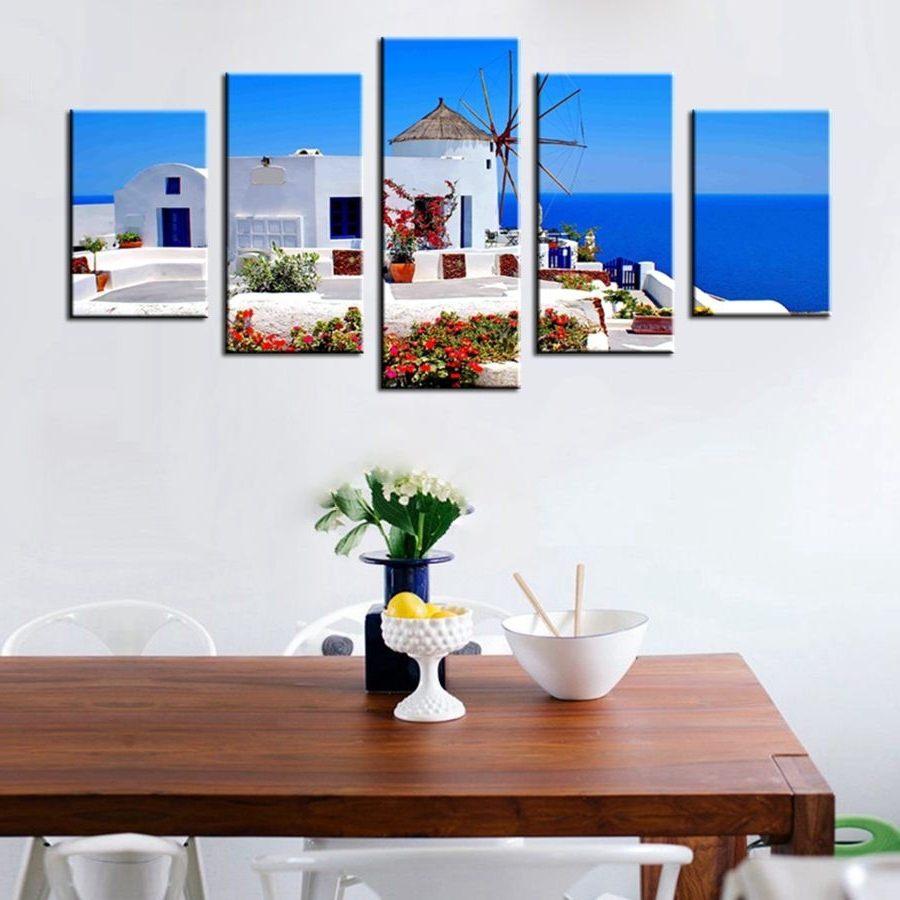 Famous Greece Canvas Wall Art Throughout Online Shop 5 Panels Greece Landscape Painting Canvas Print Blue (View 5 of 15)