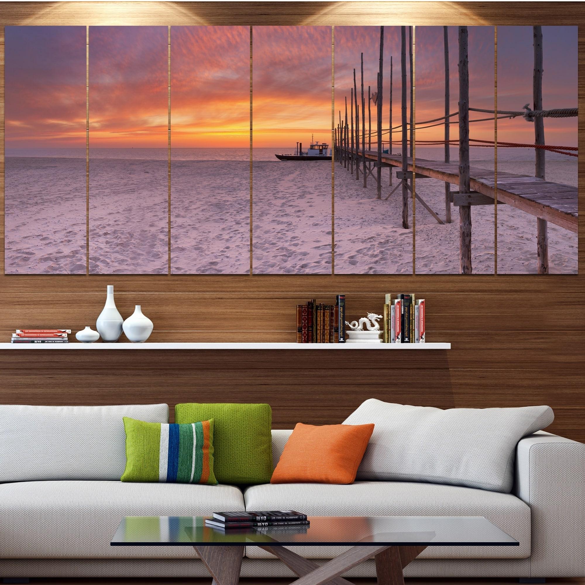 Famous Jetty Canvas Wall Art Within Designart 'texel Island Seaside Jetty Panorama' Modern Seashore (View 3 of 15)