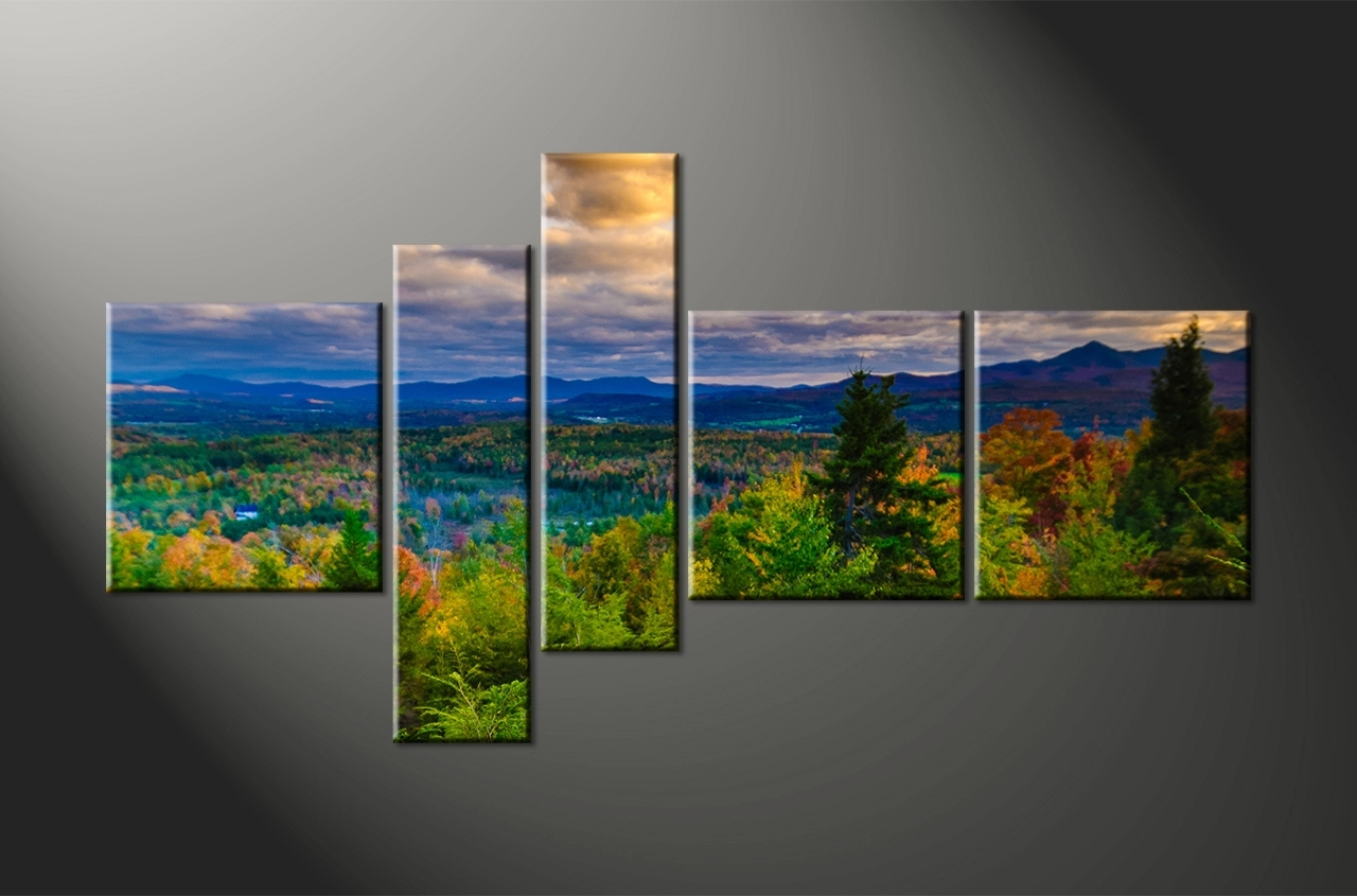Famous Landscape Canvas Prints 5 Piece Green Nature Artwork 7 3 Trees Pertaining To Landscape Canvas Wall Art (Gallery 6 of 15)