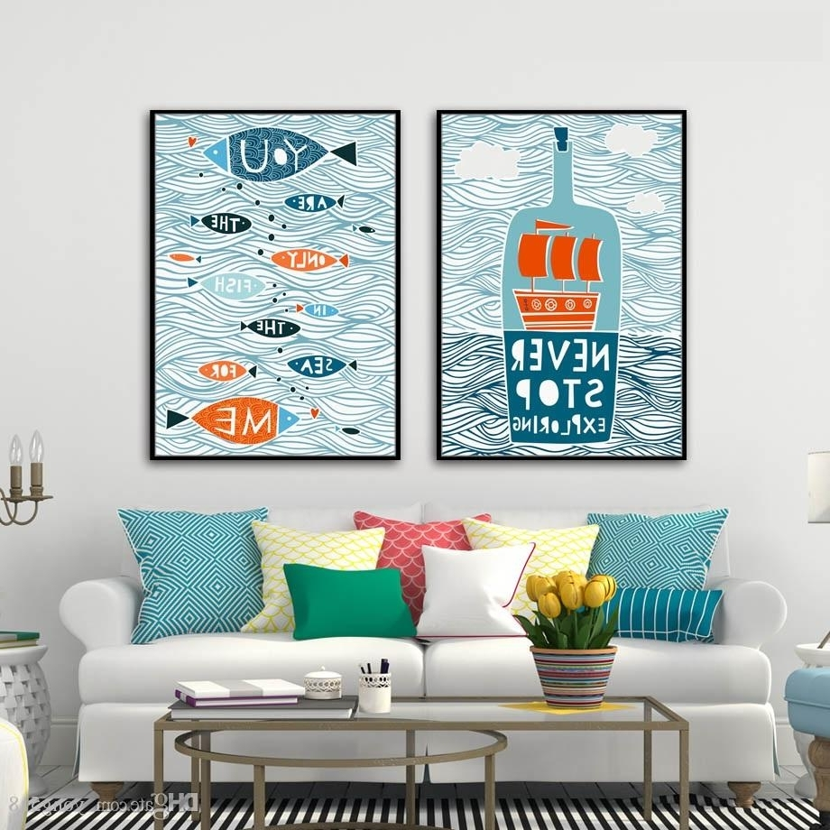 Famous Letters Canvas Wall Art In 2018 Abstract Canvas Painting Nordic Fish Sailing Letter Wall Art (View 12 of 15)