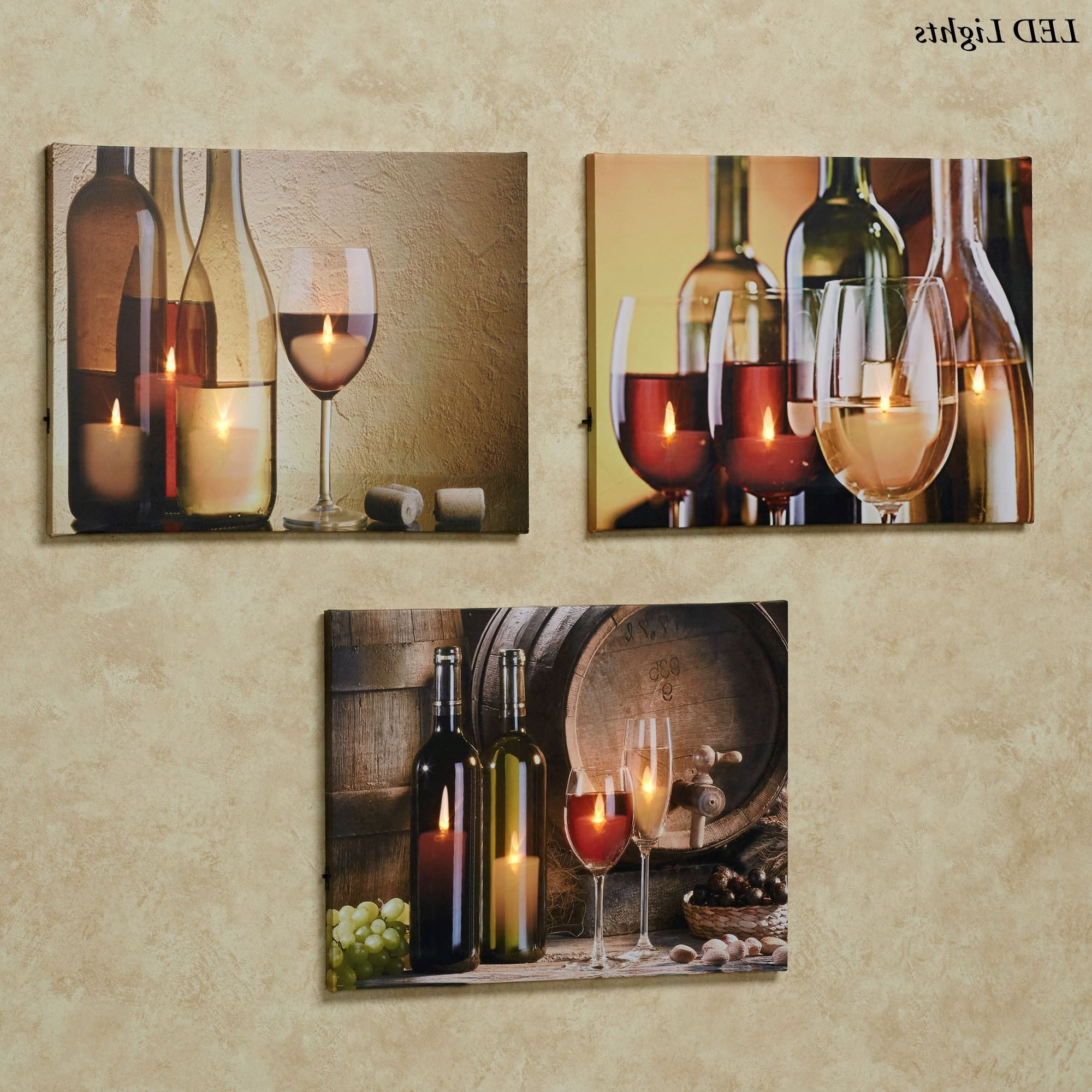 Famous Lighted Canvas Wall Art Within Malbec Wine Led Lighted Canvas Wall Art Set (View 2 of 15)