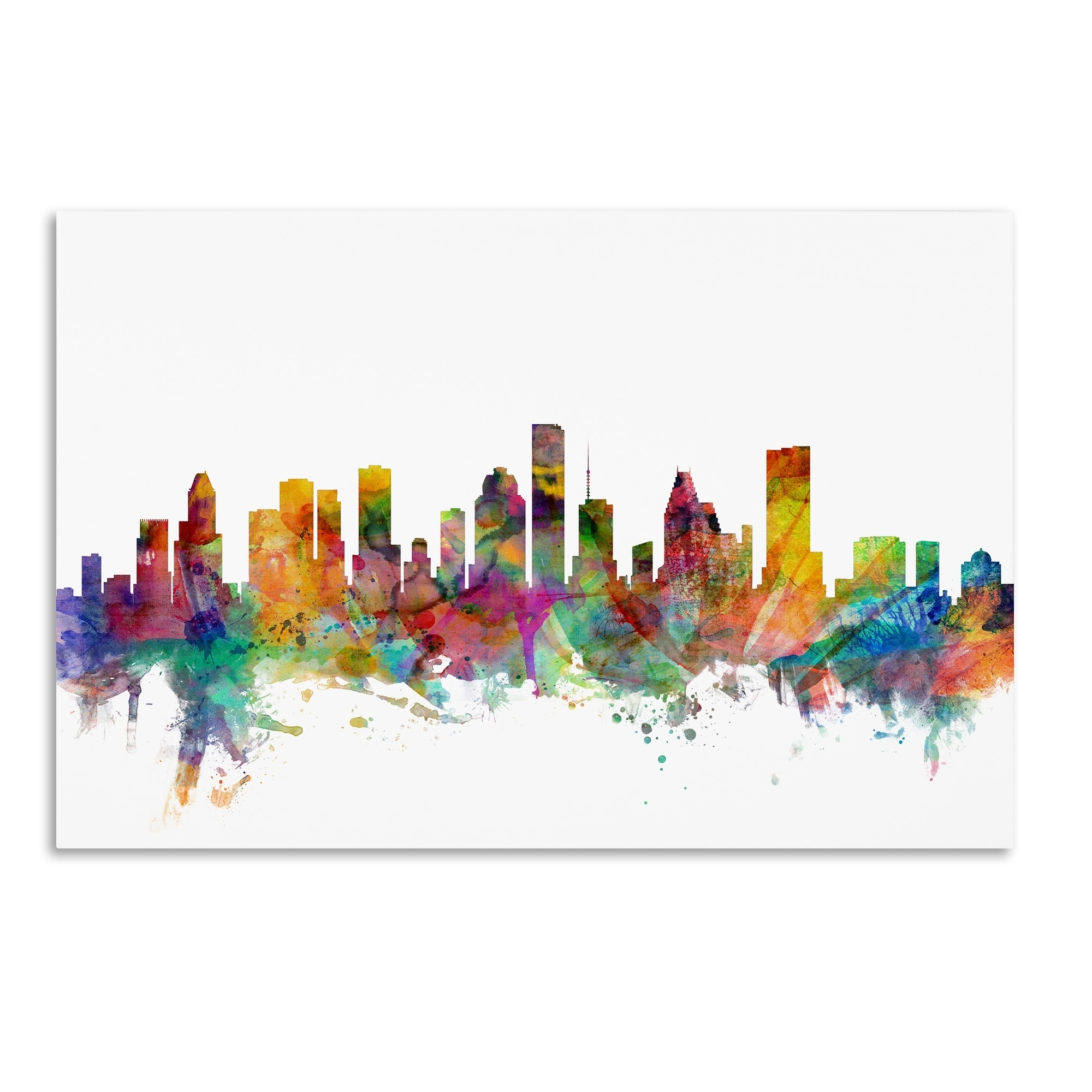 Famous Michael Tompsett 'houston Texas Skyline' Canvas Wall Art – Free Pertaining To Houston Canvas Wall Art (View 7 of 15)
