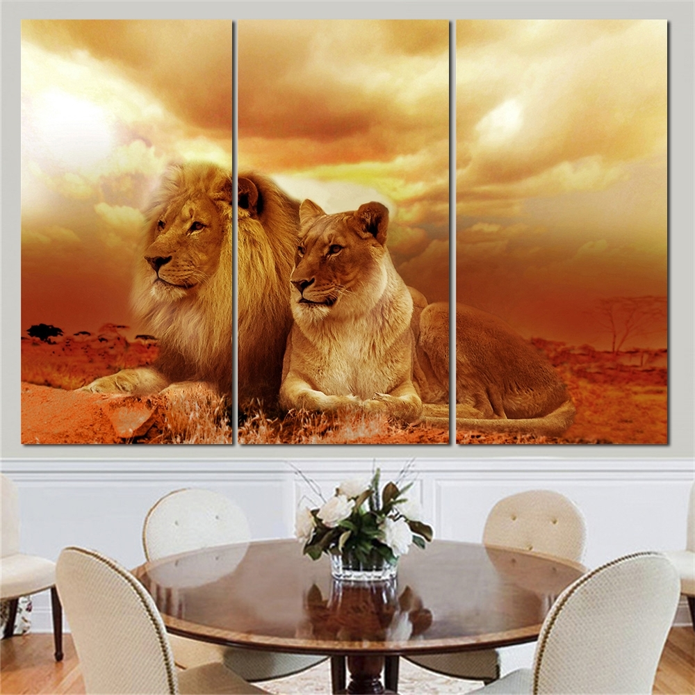 Famous No Frame Animal Oil Painting Lion King Posters Wall Art And Prints For Lion King Canvas Wall Art (View 3 of 15)