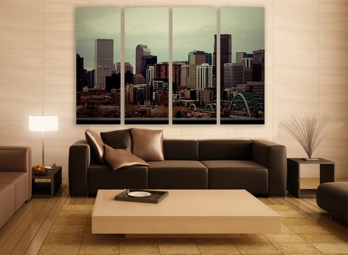 Famous Photography Canvas Wall Art In Denver City Skyline Canvas Print 4 Panels Print Wall Decor Wall (View 4 of 15)