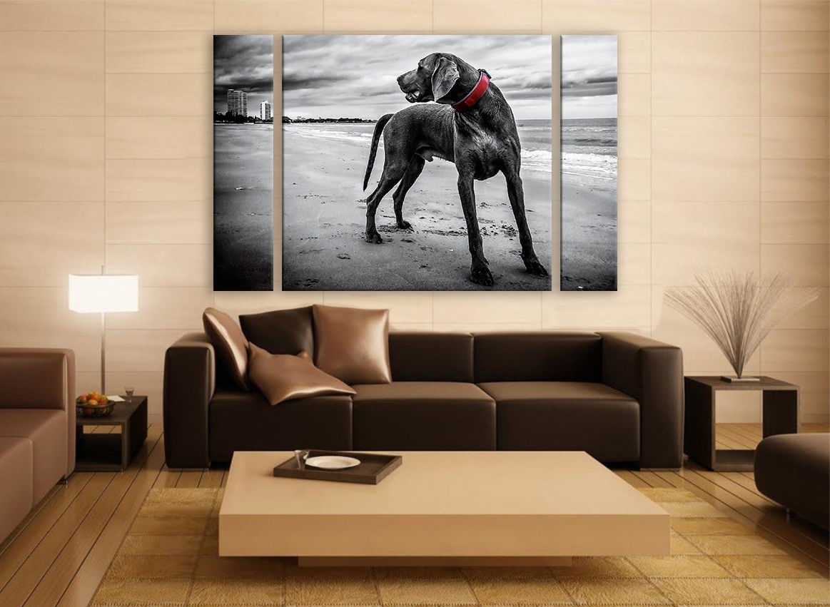 Famous Portrait Canvas Wall Art For B&w Weimaraner Portrait Canvas Print 3 Panels Print Animal Wall (View 4 of 15)