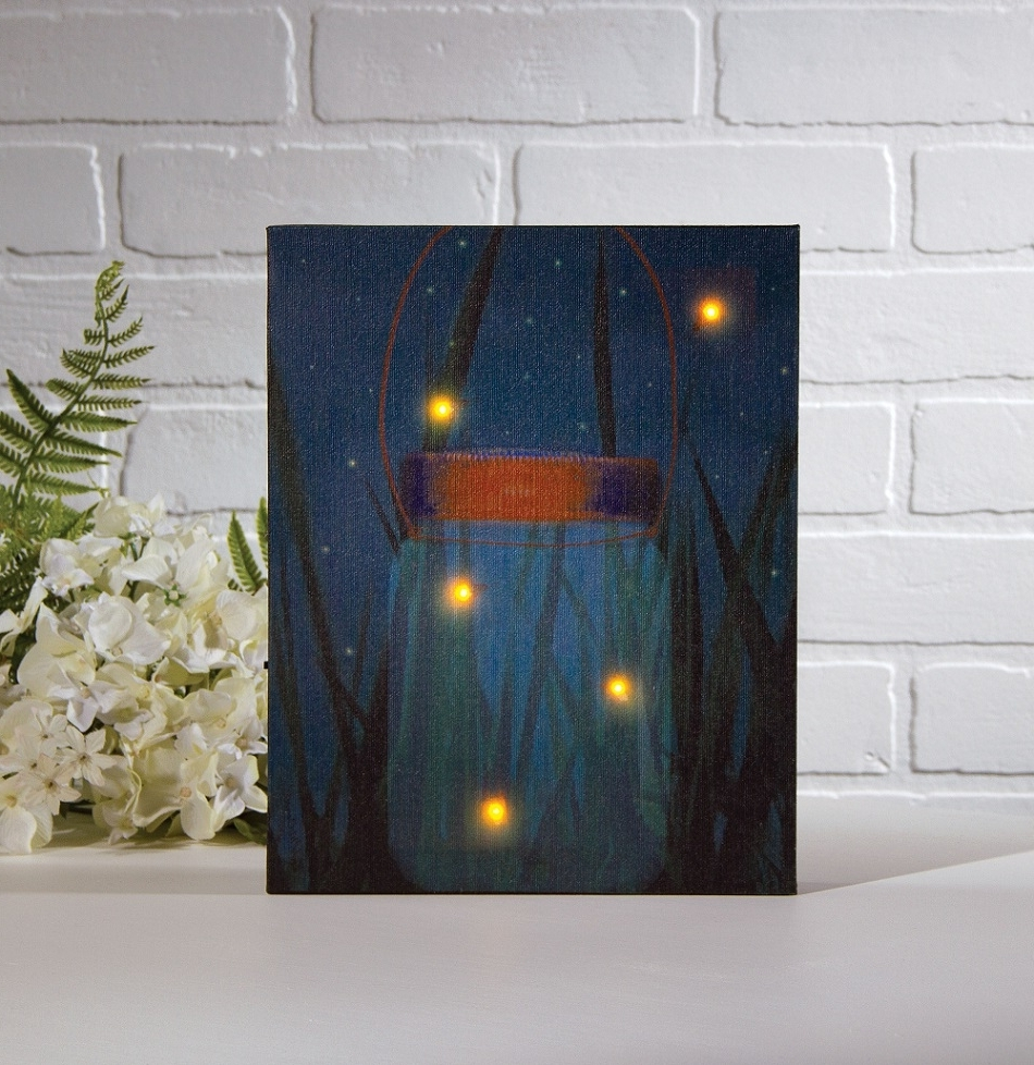 Famous Radiance Lighted Canvas Firefly Jar With Timer Shelley B Home And In Lighted Canvas Wall Art (View 3 of 15)