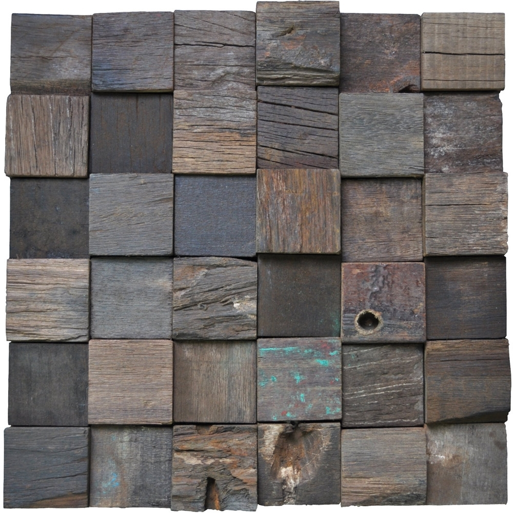 Famous Reclaimed Wood Wall Tile Ancient Boat Wood Panels, Set Of 11 In Reclaimed Wood Wall Accents (View 3 of 15)