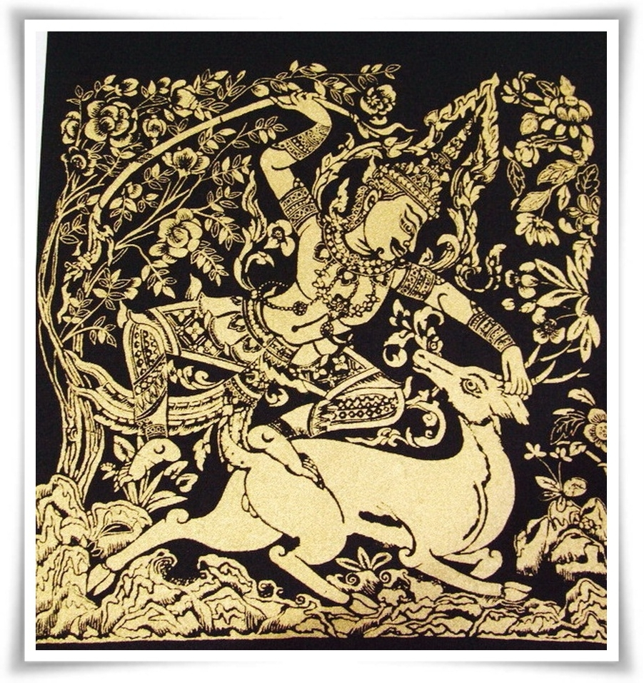 Famous Thai Ramayana Silk Fabric Painting Wall Hanging Art,r (View 11 of 15)