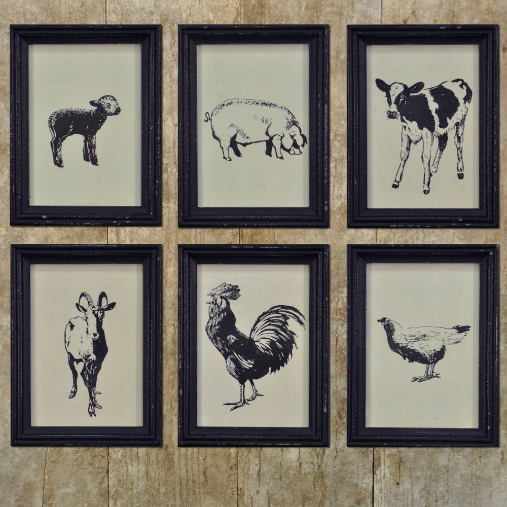 Farm Animal Framed Vintage Prints – Set/6 – Piper Classics For Well Known Framed Animal Art Prints (View 8 of 15)