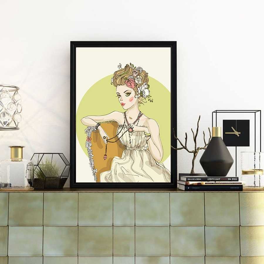 Fashion Watercolor Sexy Lady Portrait Painting Canvas Poster Home In Famous Portrait Canvas Wall Art (View 9 of 15)