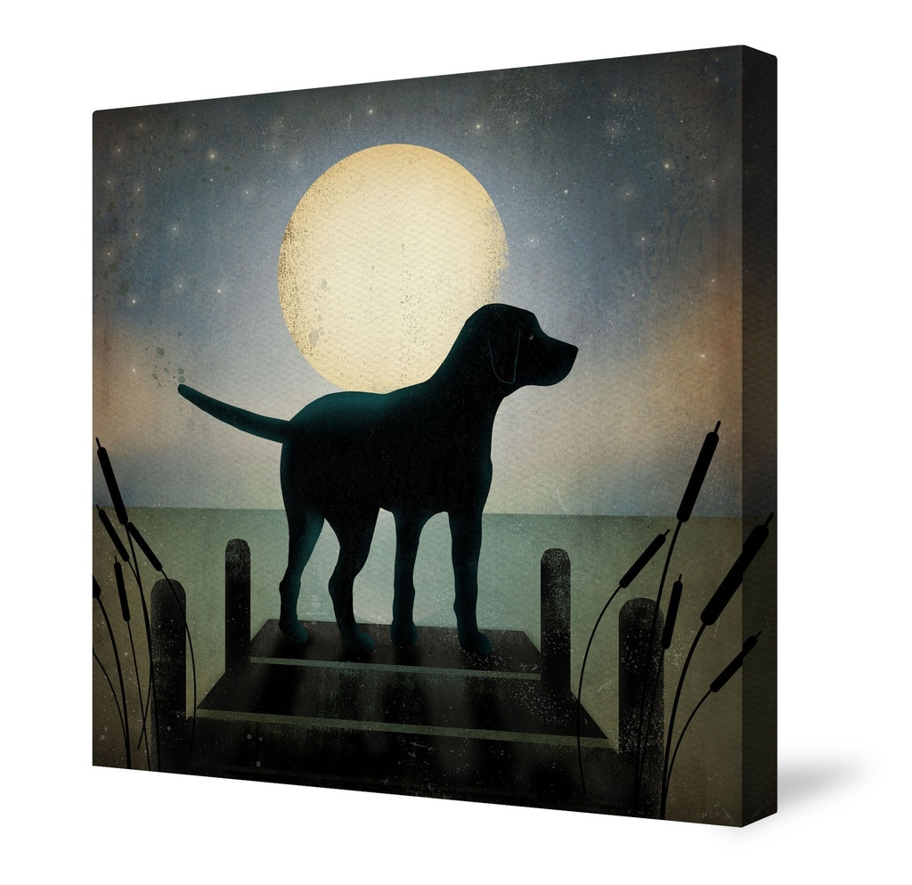 Fashionable Animal Canvas Wall Art, Moonrise Black Dogryan Fowler (View 7 of 15)